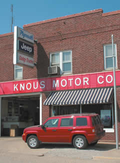 Exterior view of Knous Motor Company in the Menard County Seat community of Petersburg, IL